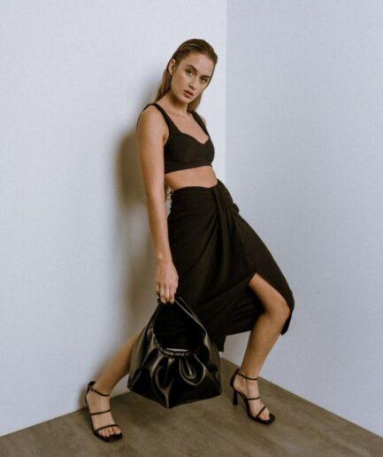 Black Midi Draped Skirt