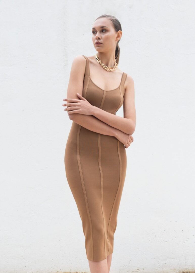 Nude Knitted Sleeveless Dress