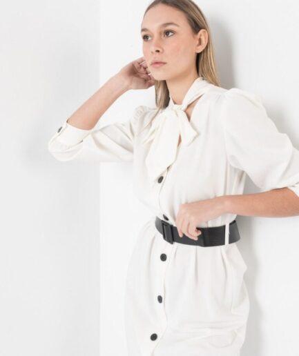 White Belted Shirt - Dress