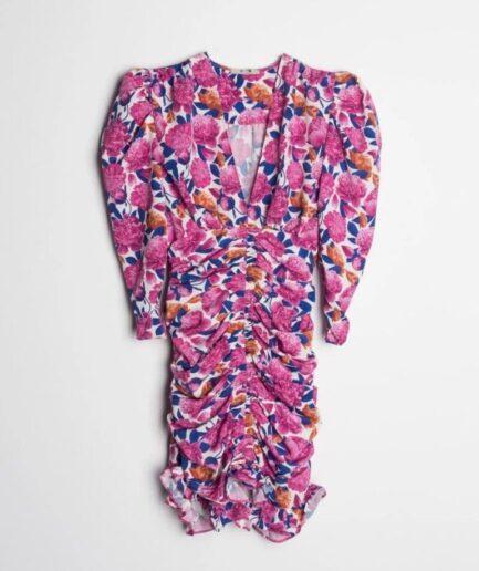 Fuchsia Printed Draped Dress