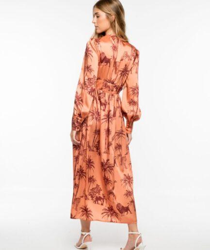 Satin Maxi Dress Jungle
