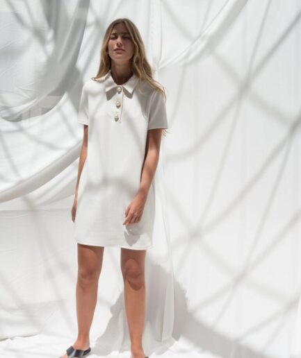 Mini Polo Dress With Pearl Jewellery Buttons