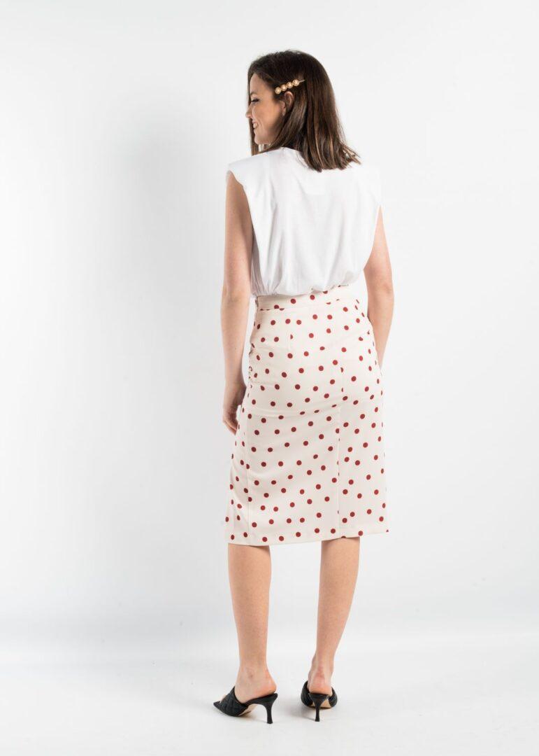 Pencil Midi Dots Skirt