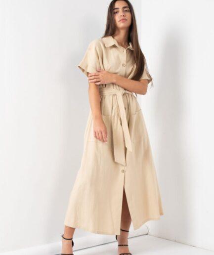Neutral Safari Linen Shirt Dress