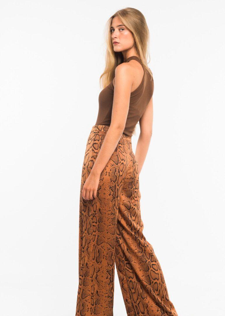 Pecan Snake Skin Trousers