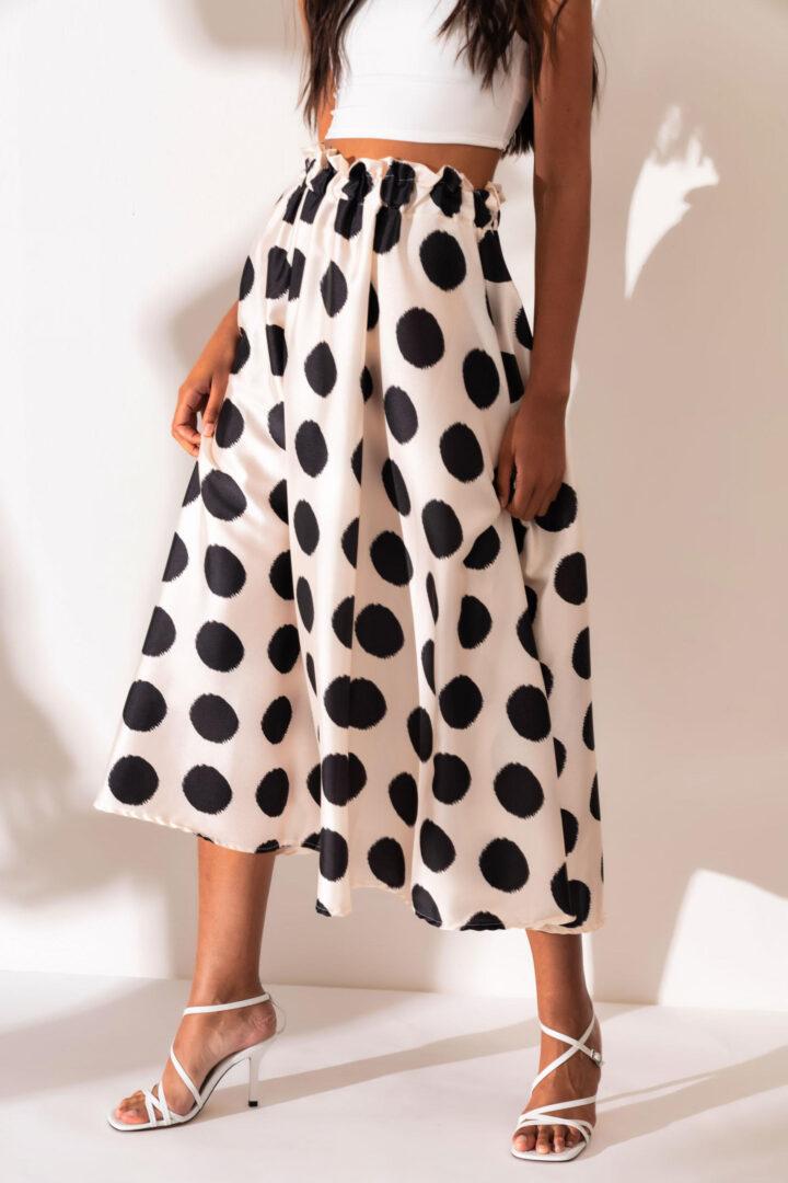 White Midi Skirt With Dots