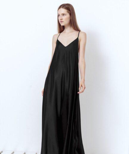 Long Black Satin Lingerie Dress
