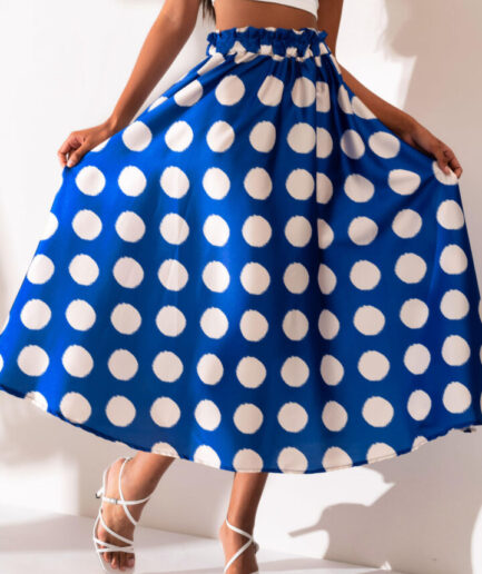 Blue Midi Skirt With Dots