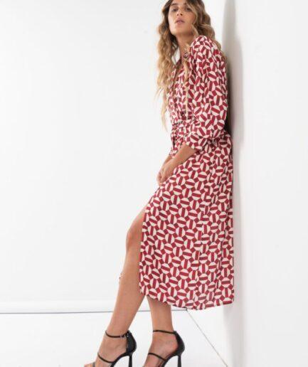 Satin Maxi Printed Dress With Belt