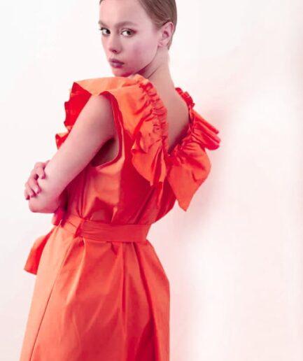Orange Red Φόρεμα Με Βολάν